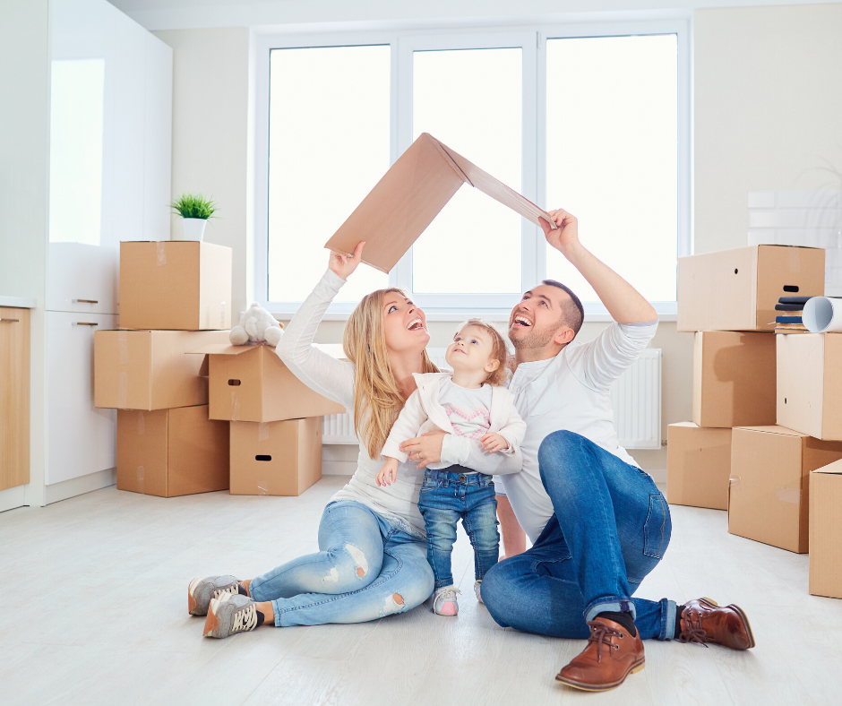 Family moving into their dream home